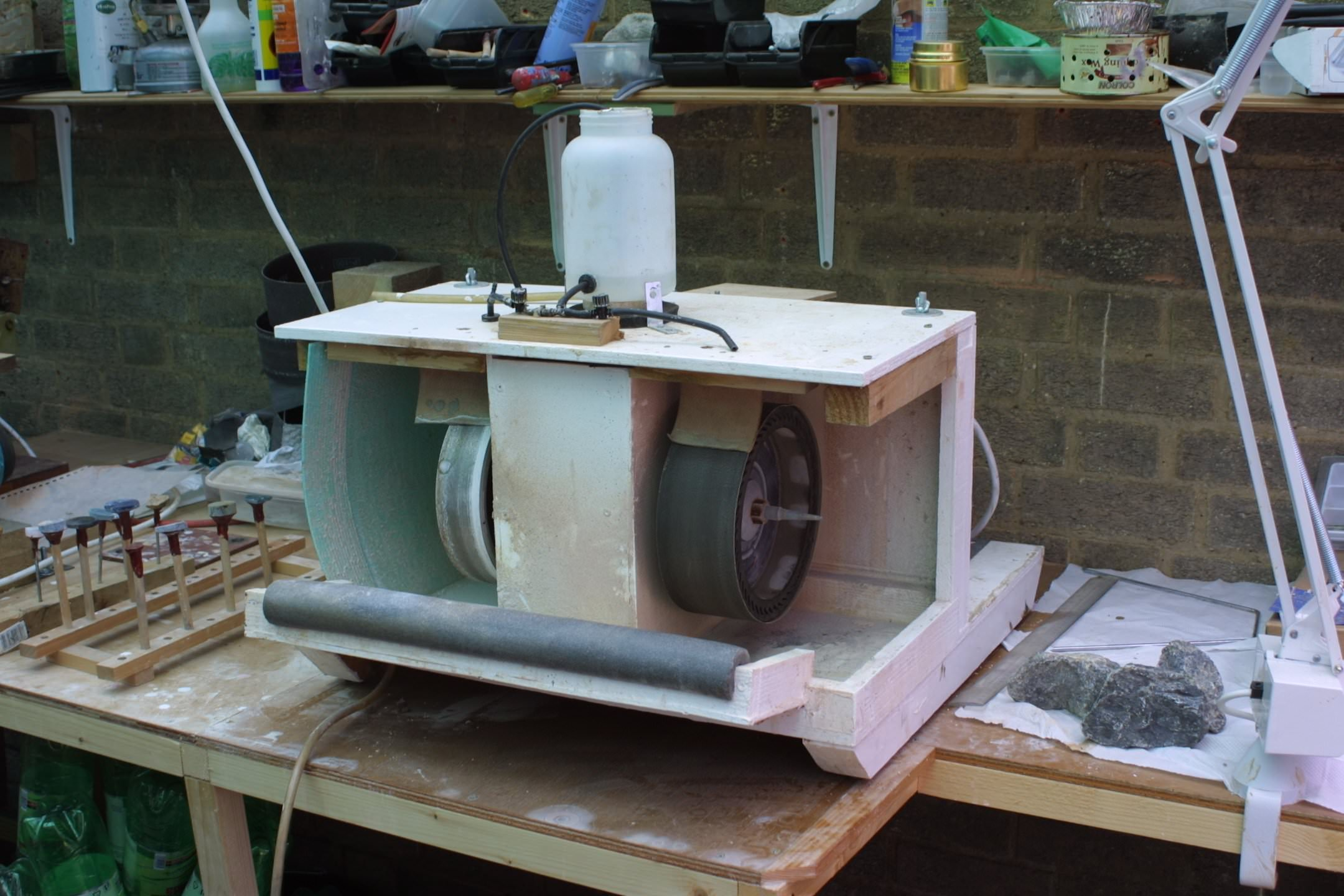 Our home made cabachon machine for Diy rock tumbler motor